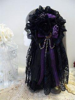 Handmade Dark Gothic Lolita Bead Lace Hanamaru with Veil by Sweet Jelly Lolita