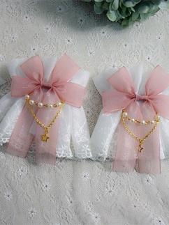 Handmade Sweet Lolita Cute Lace Bowknot Wristcuffs by Sweet Jelly Lolita
