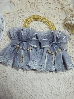 Handmade Lolita Double Layers Lace Bowknot Wristcuffs by Sweet Jelly Lolita