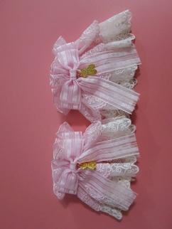 Handmade Sweet Lolita Cute Candy Bear Double Layers Lace Bowknot Wristcuffs by Sweet Jelly Lolita