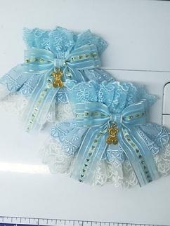 Handmade Sweet Lolita Light Blue Cute Bear Lace Bowknot Wristcuffs by Sweet Jelly Lolita
