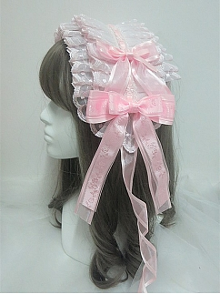 Handmade Sweet Lolita Pink Double Layer Lace Bowknot Hairbnd by Sweet Jelly Lolita