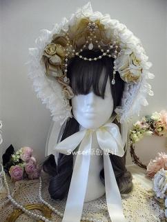 Handmade Elegant Lolita Hanayome Bead Chain Bonnet / Necklace by Sweet Jelly Lolita