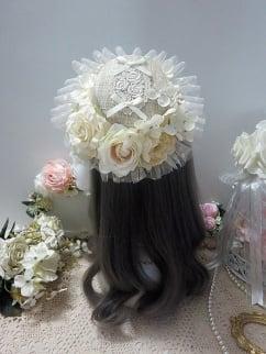 Handmade Elegant Lolita Rose Bowknot Hemp Hat by Sweet Jelly Lolita