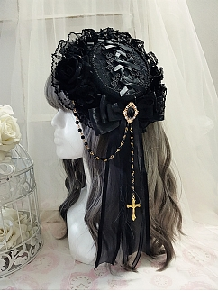 Handmade Elegant Gothic Lolita Cross Bowknot Mini Flat Hat Hairclip by Sweet Jelly Lolita