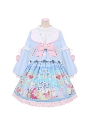 Snowfall Christmas Lolita Prints Skirt / Lapel Collar Jacket Skirt Set