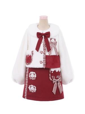 Teddy Embroidery Lolita Set Overall Dress / Plush Coat