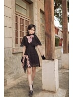 Lace Short Puff Sleeves Qi Lolita Dress by To Alice