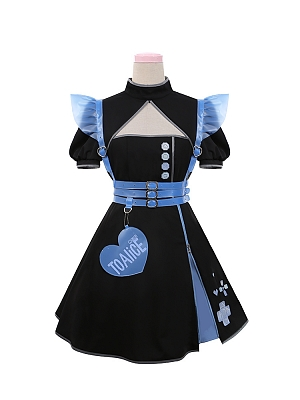 Sweetie Sniper Stand Collar Short Sleeves Qi Lolita Dress by To Alice