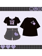 Pixel Teddy Prints Cropped T-shirt / Denim Shorts by To Alice
