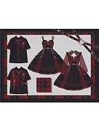 Closed Heart Gothic Lolita Dress JSK / Outerwear Full Set by To Alice