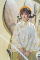 Kinmokusei Han Lolita Stand Collar Top / Plush Collar Vest / Yellow Skirt Set