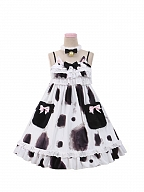 Calico or Cow Cat Tiered Ruffles Bodice Lolita Dress JSK