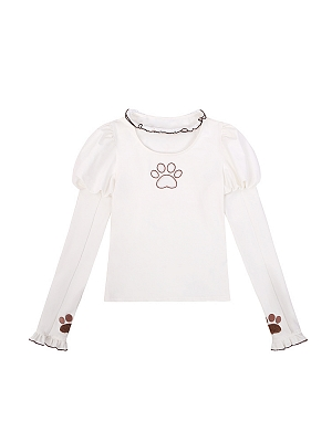 Calico or Cow Cat Pawl Embroidery Long Sleeves Lolita T-shirt