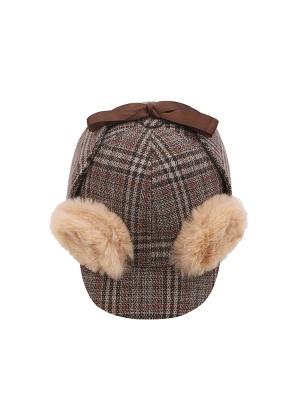 Detective Dog Lolita Dress Matching Coffee Plaid Hat