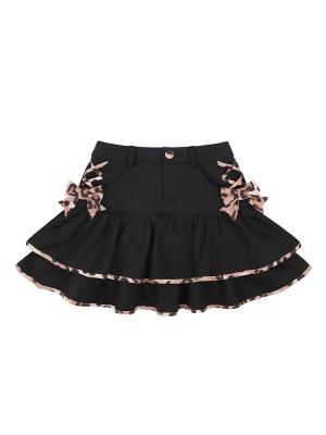 Flocking Leopard Tiered Flounce Lolita Mini Skirt