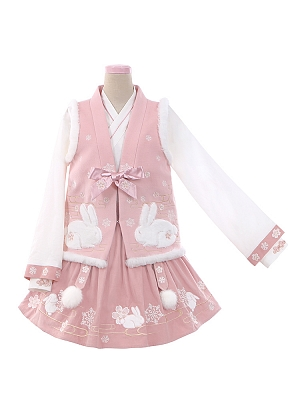Edelweiss Bunny White Top / Corduroy Skirt / V-neckline Vest Han Lolita Skirt Set