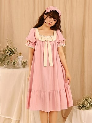Bertis Vintage Square Neckline Short Puff Sleeves Sweet Lolita Nightgown by Tan Tuan