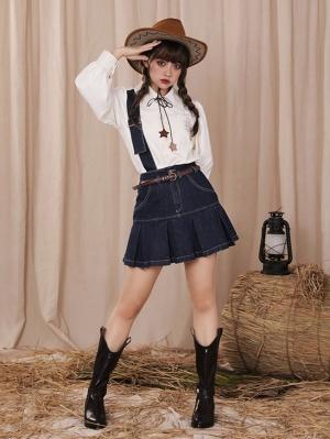 Little Cowboy High Waist One Shoulder Strap Pleated Skirt with Waistbelt