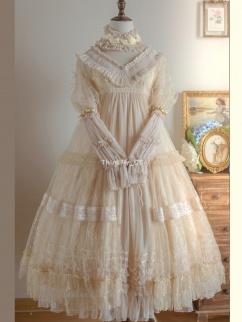 Plain Color 001 High Neck Long Sleeves Elegant Lolita Dress OP