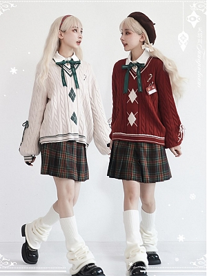 Snowy Night Praise Christmas V-neck Long Sleeves Sweater