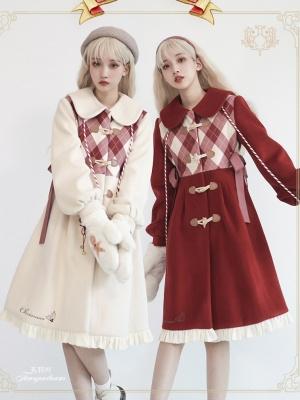 Snowy Night Praise Christmas Turndown Collar Long Sleeves Woolen Coat