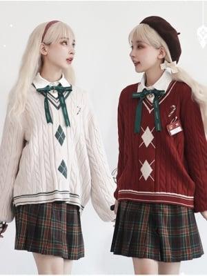 Snowy Night Praise Christmas JK Pleated Skirt