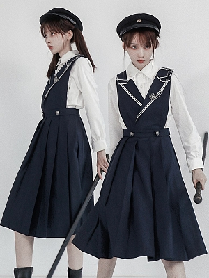 Silver Heart Medal JK Lapel Collar Overall Dress with Badge