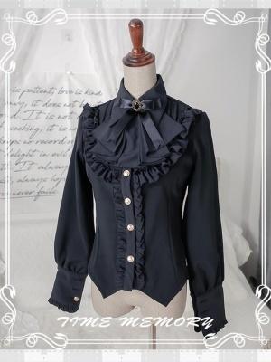 Earl Girl Pointed Collar Leg-of-mutton Sleeves Plus Velvet Lolita Shirt