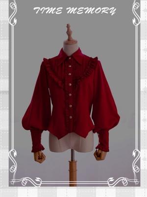 Earl Girl 5 Colors Pointed Collar Leg-of-mutton Sleeves Chiffon Lolita Shirt