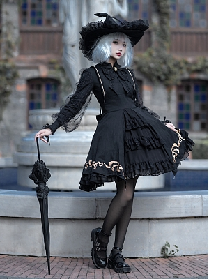 Minute Hand Stand Collar Long Sleeves Embroidered Gothic Lolita Dress OP