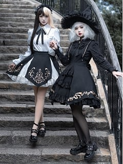 Minute Hand Pointed Collar Long Sleeves Gothic Lolita Shirt / SK Set