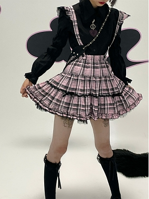 Plaid Ruffled Detachable Puff Overall Skirt by Evil Tooth
