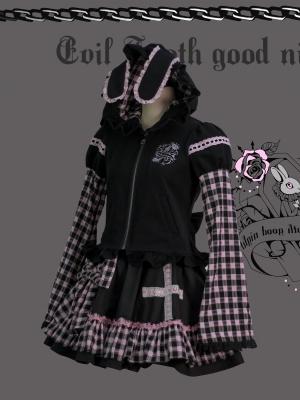 Coffin Bunny Long Sleeves Print Full-zip Hoodie with Bunny Ears