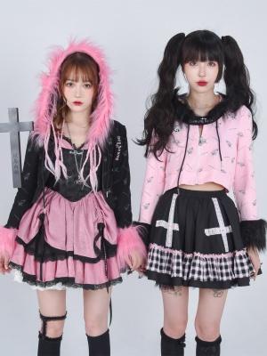 Gothic Punk Printed Long Sleeves Plush Full-zip Hoodie