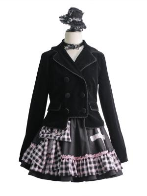 Gothic Punk Velvet Lapel Collar Long Sleeves Jacket