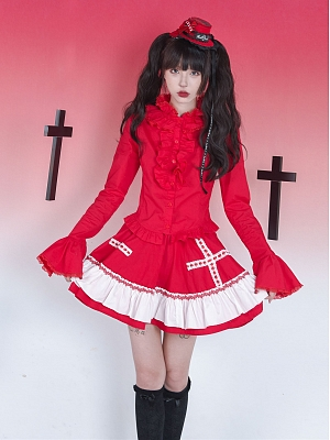 Red Love Collar Trumpet Sleeves Gothic Punk Lolita Shirt