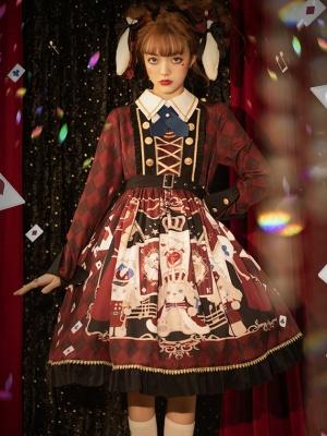 Puppy Band Long Sleeve Lolita Dress OP / Train by Honey Machine