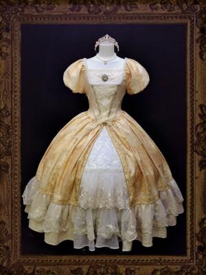 Sissi Square Neckline Short Puff Sleeves Elegant Lolita Dress OP by Unfinished Agreement
