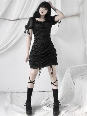 Gothic Black Square Neckline Short Puff Sleeves Drawstring Mini Dress by Unspeakable Dark Paranoia