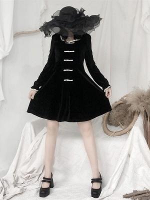 Gothic Velvet Square Neckline Long Sleeves Short Dress by Unspeakable Dark Paranoia