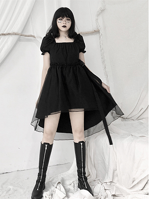 Gothic Square Neckline Short Puff Sleeves Irregular Dress with Waist Belt by Unspeakable Dark Paranoi