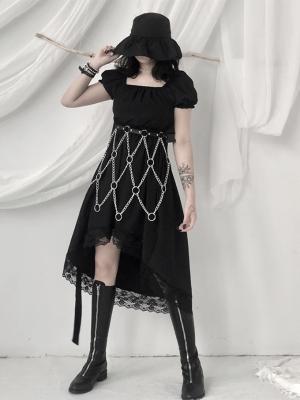 Gothic Square Neckline Short Puff Sleeves Irregular Dress by Unspeakable Dark Paranoi