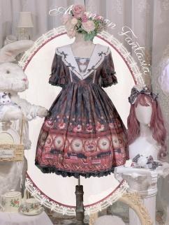 Afternoon Fantasia Square Neckline Short Sleeves / Long Sleeves Sweet Lolita Dress OP
