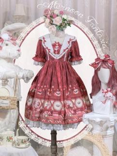 Afternoon Fantasia Square Neckline Short Sleeves / Long Sleeves Sweet Lolita Dress OP Full Set