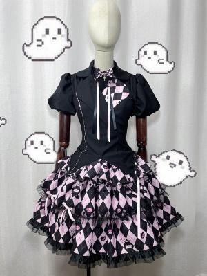 Night II Cool Plaid Skirt Lolita Dress JSK Full Set
