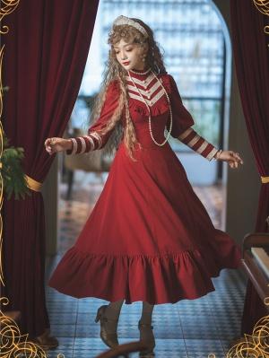 Vintage Elegant High Neck Leg-of-mutton Sleeves Long Dress with Detachable Waist Belt by Vanille