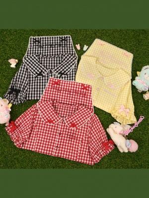 Sanrio Authorized Little Twin Stars Peter Pan Collar Plaid Lolita Shirt by Vcastle