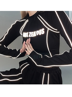 Cyberpunk Reflective Long Sleeves Cropped Top