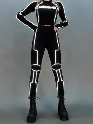 Cyberpunk Reflective High Waist Skinny Pants